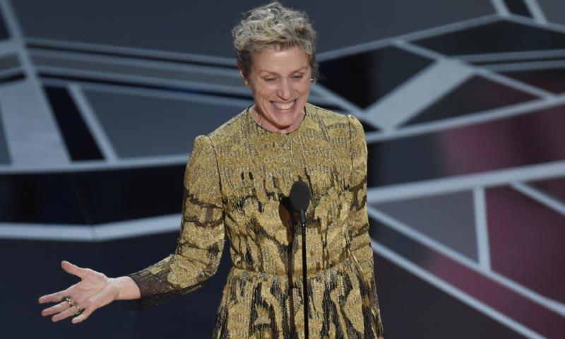 Frances McDormand, ganadora del Oscar a mejor actriz, emociona con su discurso a sus compañeras
