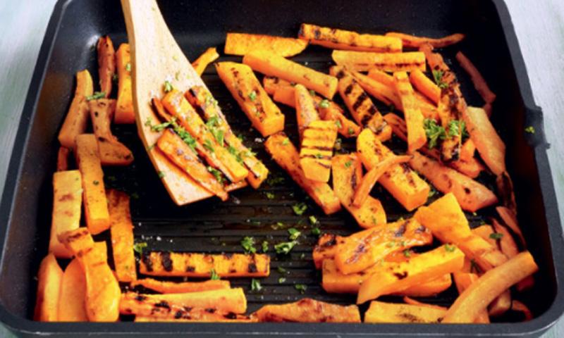 Calabazas y zanahorias fritas