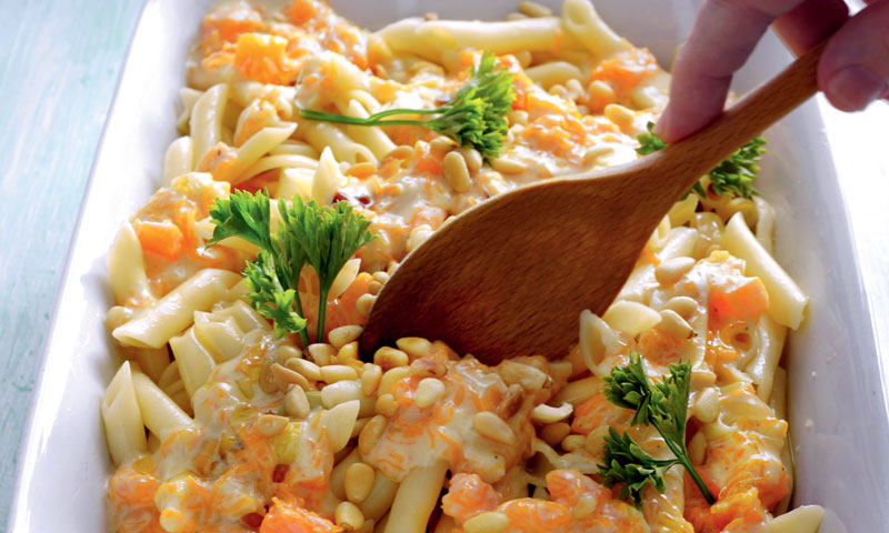 Macarrones con salsa de calabaza