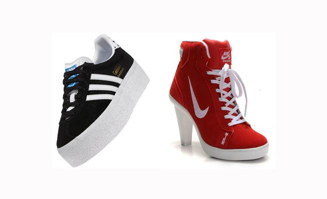 zapatillas plataforma adidas y nike heels