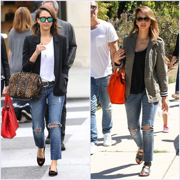 Ripped jeans'. Un pantalón, 'siete looks'