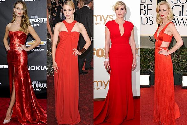 Vestidos rojos largos famosas