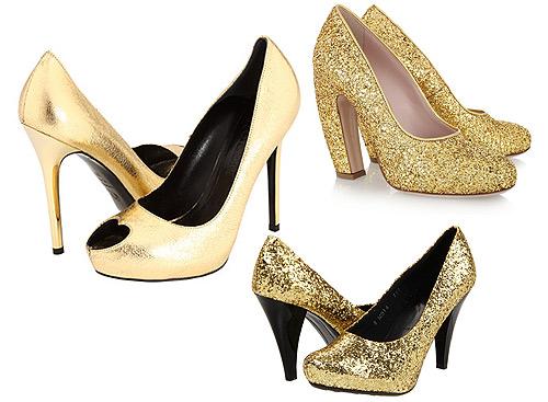 a la última: zapatos en color oro
