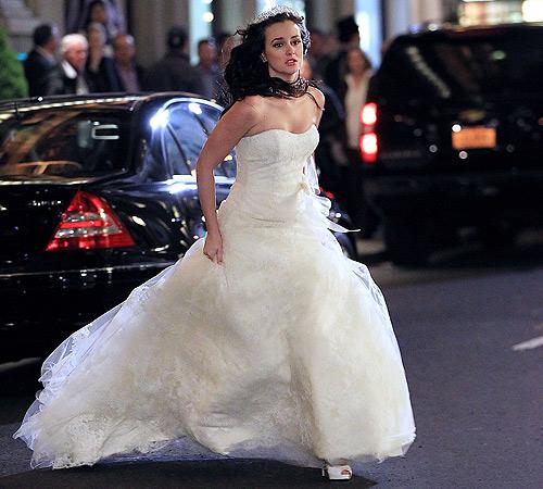 Leighton Meester, una novia a la carrera en el rodaje de \'Gossip Girl\'