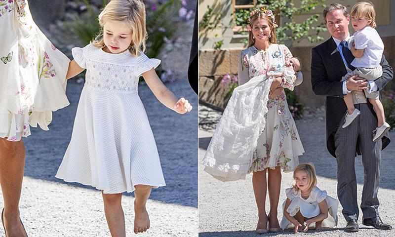 ¡Sin zapatos y haciendo volteretas! Las 'travesuras' de Leonore de Suecia en el bautizo de su hermana Adrienne