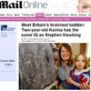 Karina, de dos años, es la persona más inteligente de Reino Unido: tiene el mismo cociente intelectual que Stephen Hawking y Bill Gates