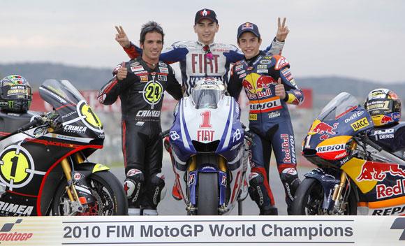 Jorge Lorenzo, Toni Elías y Marc Márquez, un trío de campeones en el Mundial de Motociclismo