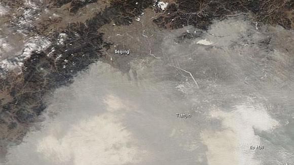 La NASA publica las imágenes de la nube de contaminación que existe sobre China