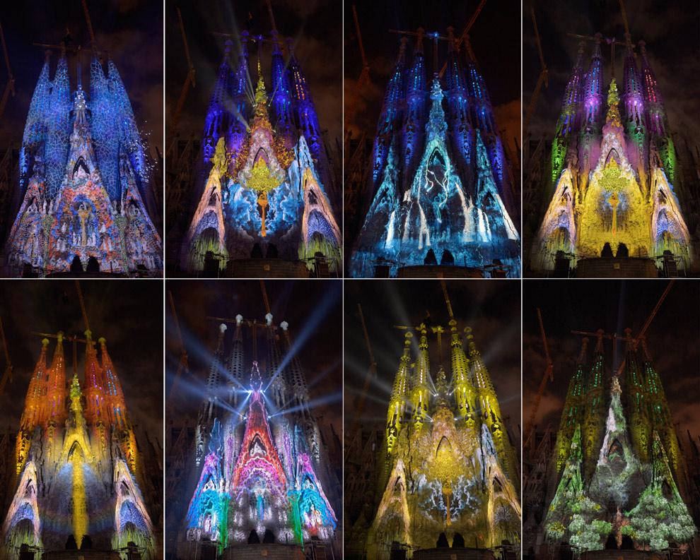 La Sagrada Familia se viste de luz y color para celebrar la Mercé 2012