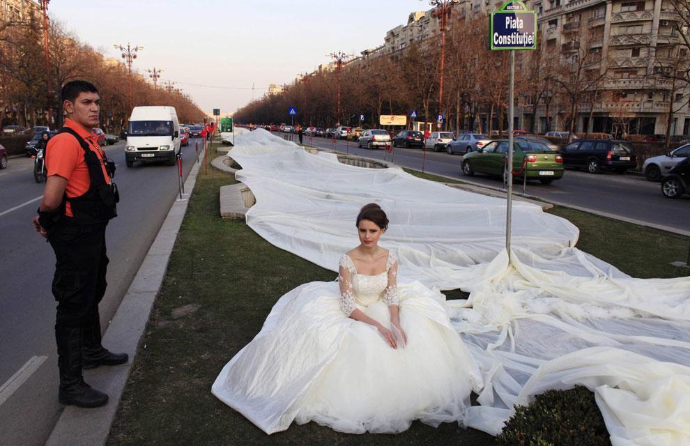 El vestido de novia más largo del mundo