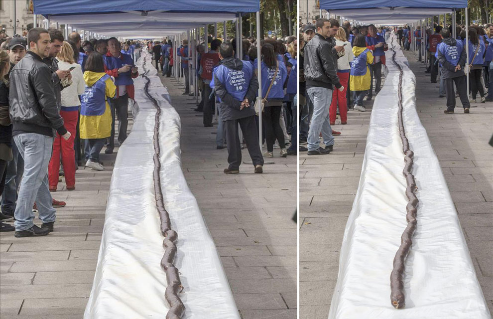 Doble récord en Burgos con la morcilla más larga