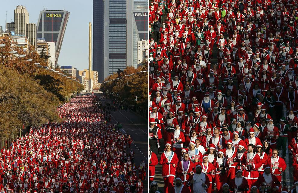Seis mil Papá Noeles inundan la Castellana en Madrid