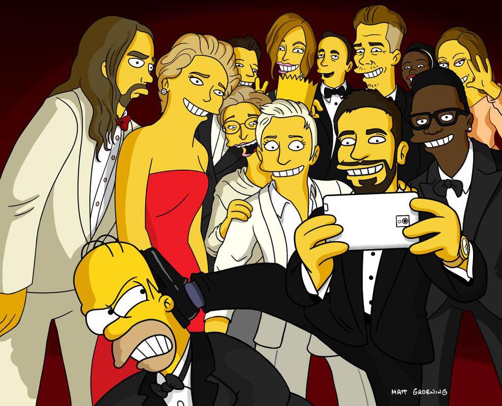 El 'selfie' de los Oscar, en versión 'Simpsons'