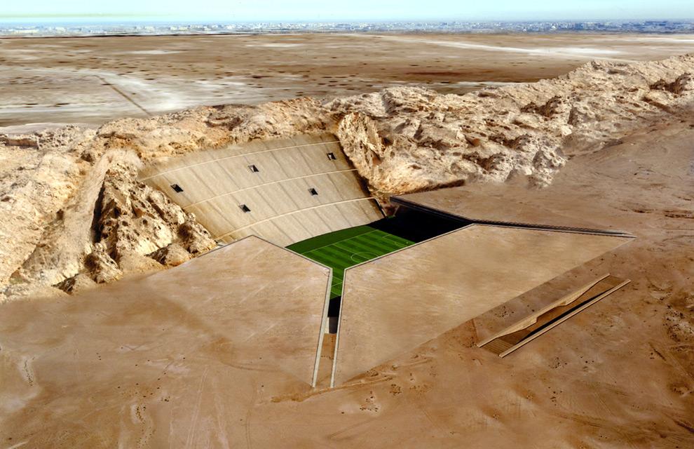 Un estadio camuflado en el desierto