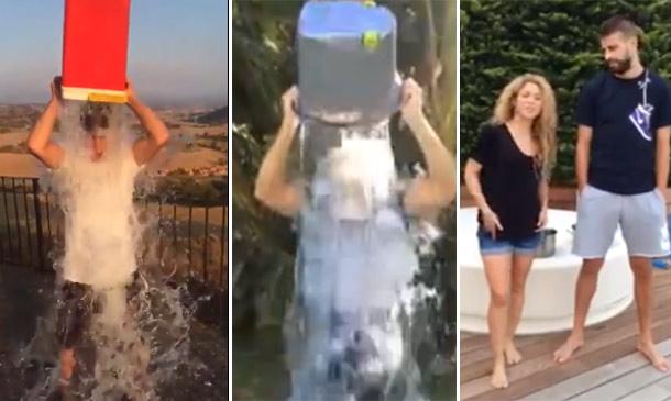 Pablo Alborán, David Bisbal, Piqué, Shakira... el reto del cubo de agua 'inunda' también España