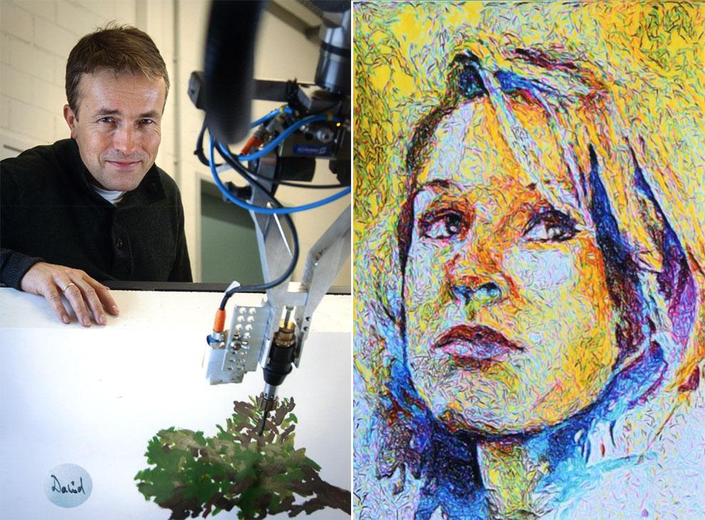 'E-David', el robot que pinta sobre lienzo