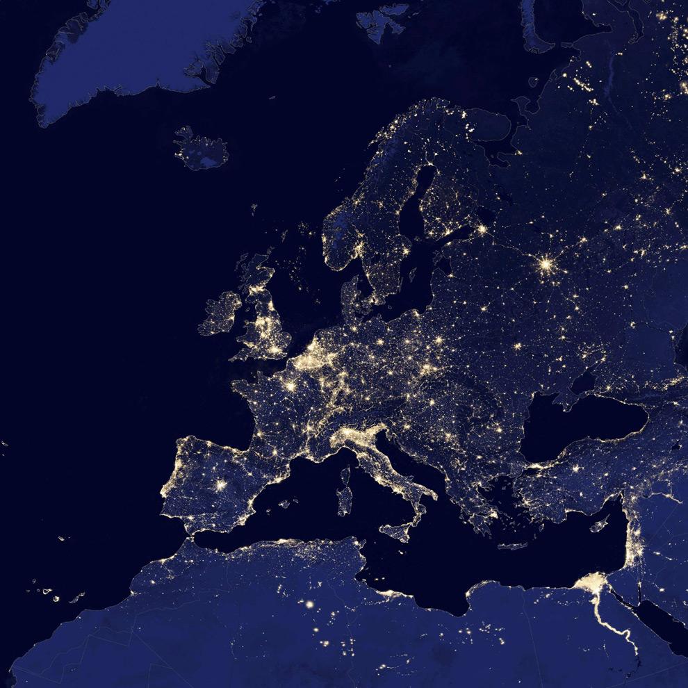 Espectacular imagen nocturna de Europa