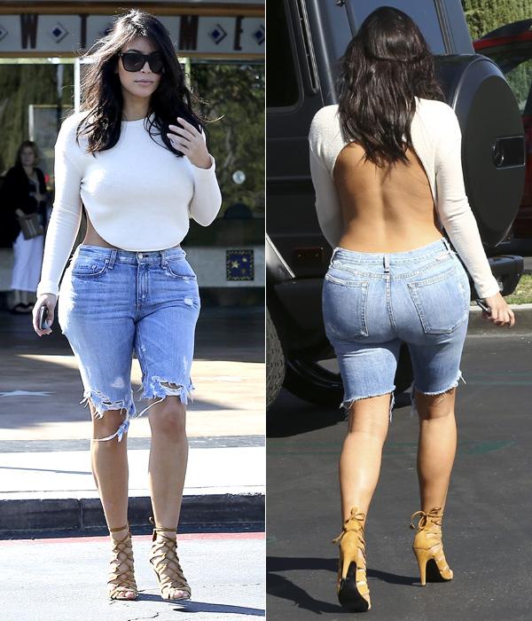 Bermuda vaquera, top con escote a la espalda y sandalias de tiras la última mezcla explosiva de Kim Kardashian