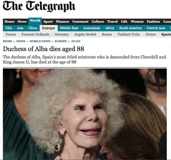 La prensa internacional se hace eco del fallecimiento de la Duquesa de Alba