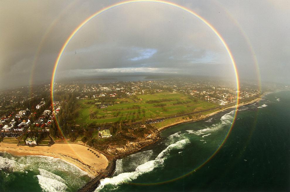 Un arcoíris circular perfecto