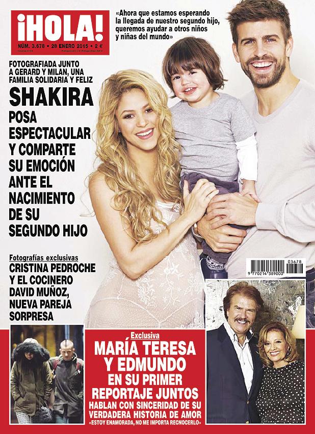 En ¡HOLA!, la foto solidaria de Shakira, embarazada de su segundo hijo, junto a Piqué y Milan