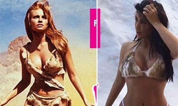 Kim Kardashian se 'inspira' en Raquel Welch y en su biquini de piel de los años sesenta