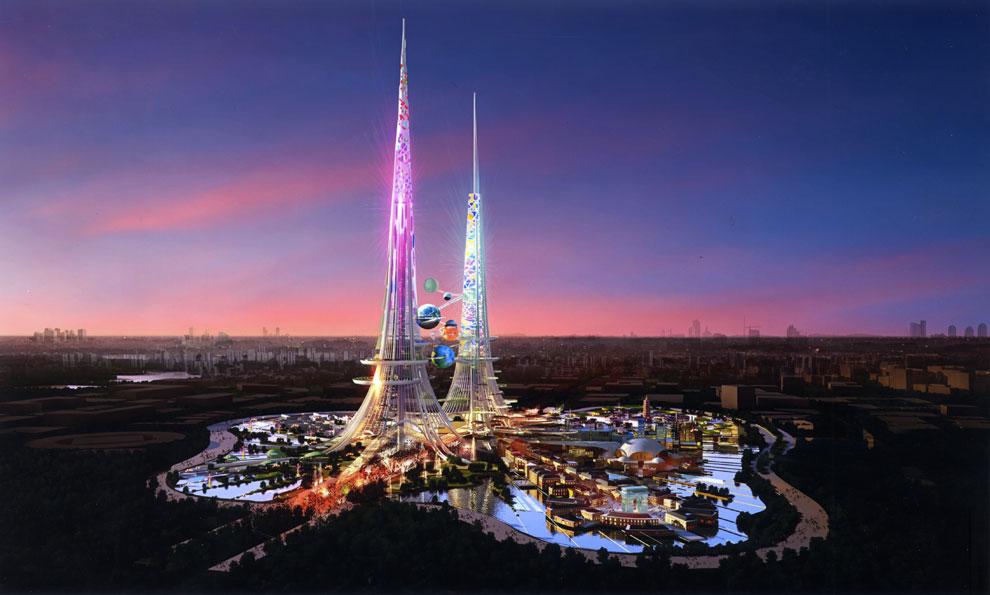 Un edificio futurista para alcanzar el techo del mundo