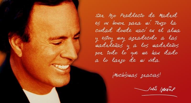 Julio Iglesias se confiesa muy agradecido por la concesión del título de Hijo Predilecto de Madrid