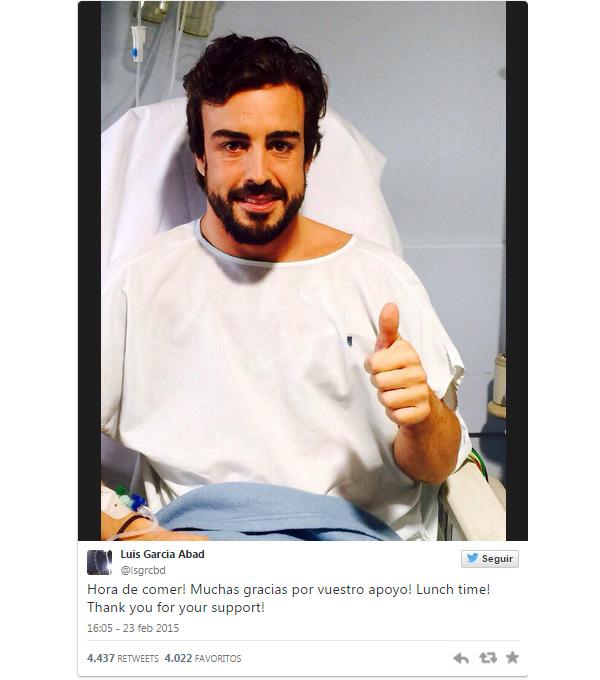 Fernando Alonso sigue recuperándose en el hospital: '¡Muchas gracias por vuestro apoyo!'