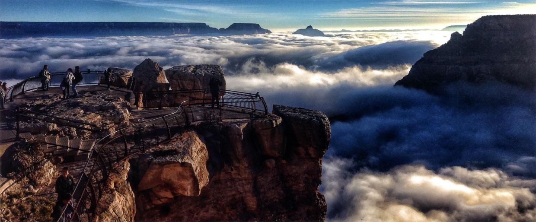 Insólitas imágenes del Gran Cañón cubierto de nubes