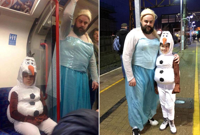 ¡El padre del año! Se disfraza de Elsa de 'Frozen' para acompañar a su hija