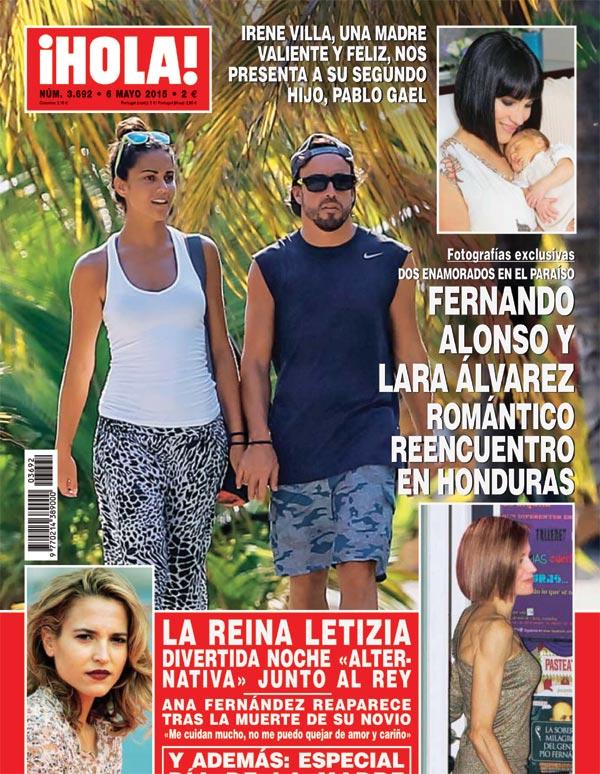 Exclusiva en ¡HOLA!, el romántico reencuentro en Honduras de Fernando Alonso y Lara Álvarez