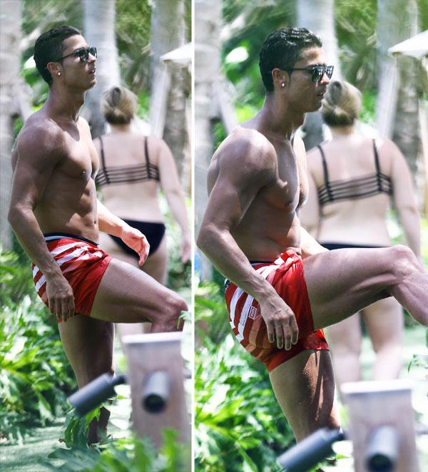 ¡Un, dos! ¡Un, dos! Cristiano Ronaldo no descuida su físico ni en vacaciones