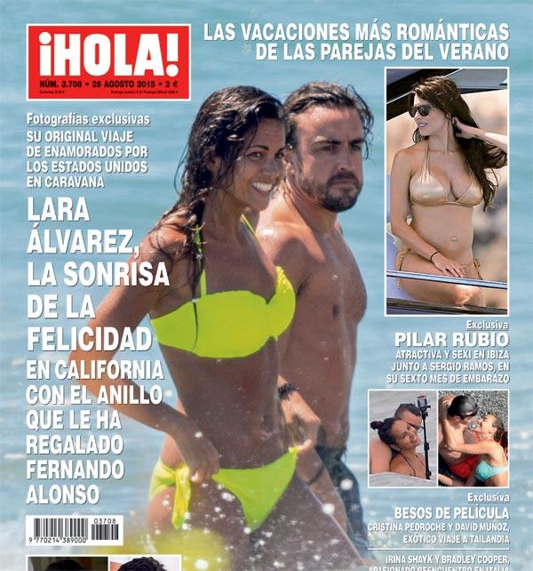 Exclusiva en ¡HOLA!, Lara Álvarez, la sonrisa de la felicidad en California con el anillo que le ha regalado Fernando Alonso