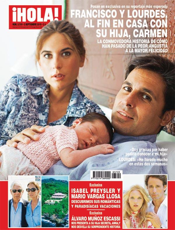 Exclusiva en ¡HOLA!, Francisco Rivera y Lourdes Montes, al fin en casa con su hija Carmen