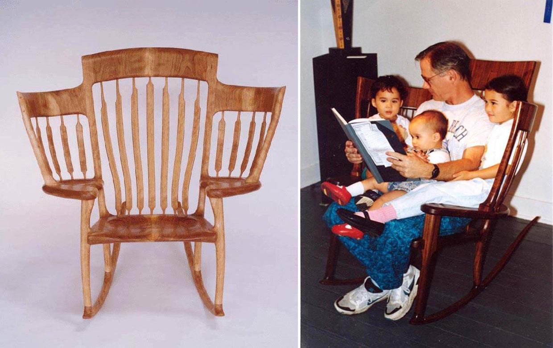 Un papá cuentacuentos inventa la silla para tres