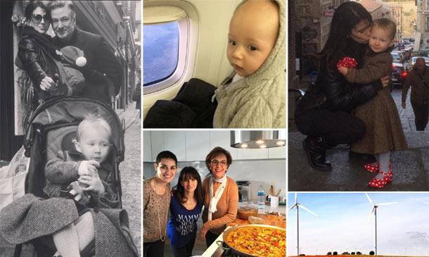 Paella, molinos, zapatos de sevillana... Alec e Hilaria Baldwin enseñan España a sus hijos
