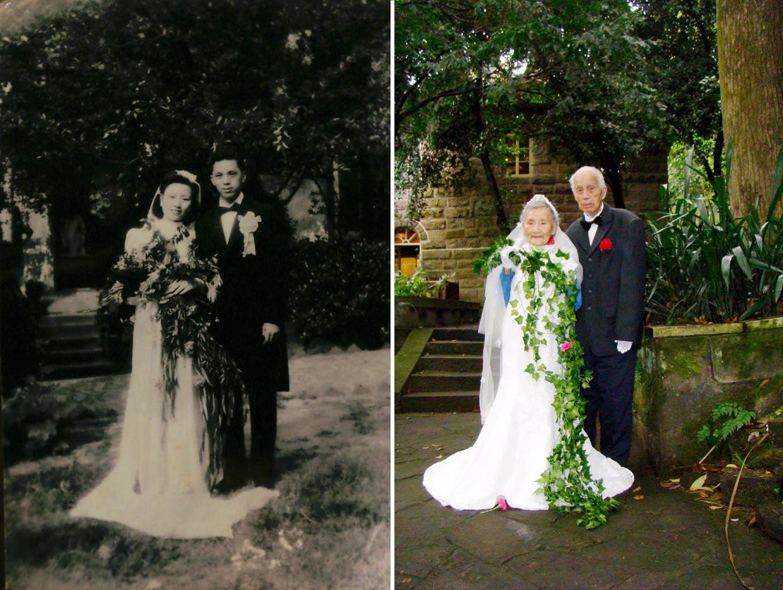 A sus 98 años, recrean su boda 70 años después