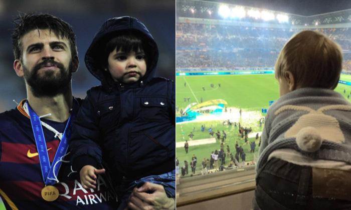 Con Shakira y sus hijos... Piqué triunfa en familia
