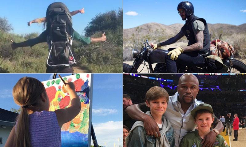 David en moto y Harper a lomos de su padre, la 'route' californiana de los Beckham