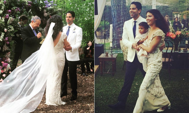 Happily married husband and wife: Adam Rodriguez and Grace Gail at their wedding ceremony