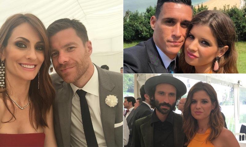 Nagore Aranburu, Marta Ponsati y Leiva acompañan al futbolista Esteban Granero en su enlace