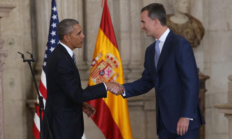 Barack Obama, en su reunión con el rey Felipe: 'La primera vez que vine a Madrid fue con una mochila'