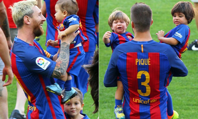 Besos, sonrisas y ¡llantos! Messi y Piqué se derriten con sus niños