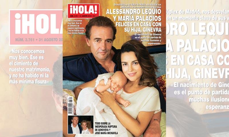 En ¡HOLA!, Alessandro Lequio y María Palacios, felices en casa con su hija Ginevra