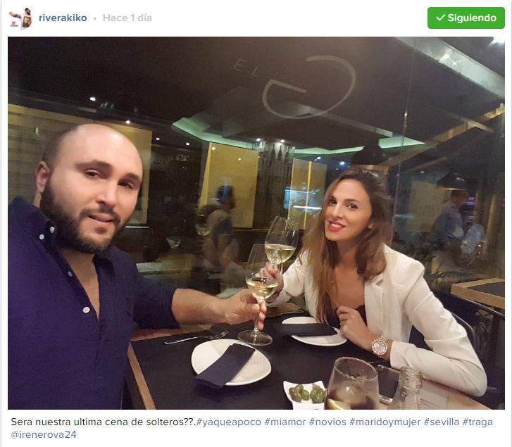 Kiko Rivera e Irene Rosales disfrutan de una cena romántica para despedir su soltería