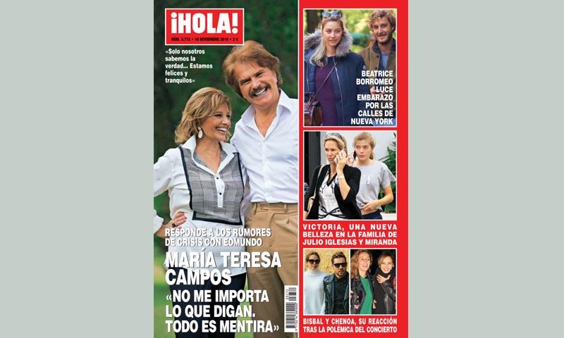En ¡HOLA!, María Teresa Campos responde a los rumores de crisis con Edmundo: 'No me importa lo que digan. Todo es mentira'