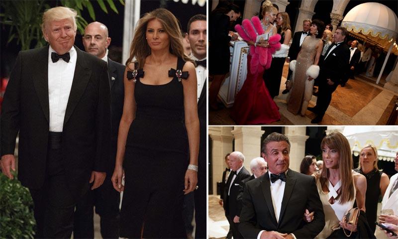Cientos de invitados y un menú de lujo... Donald Trump brinda por el año más importante de su vida al más puro estilo Hollywood