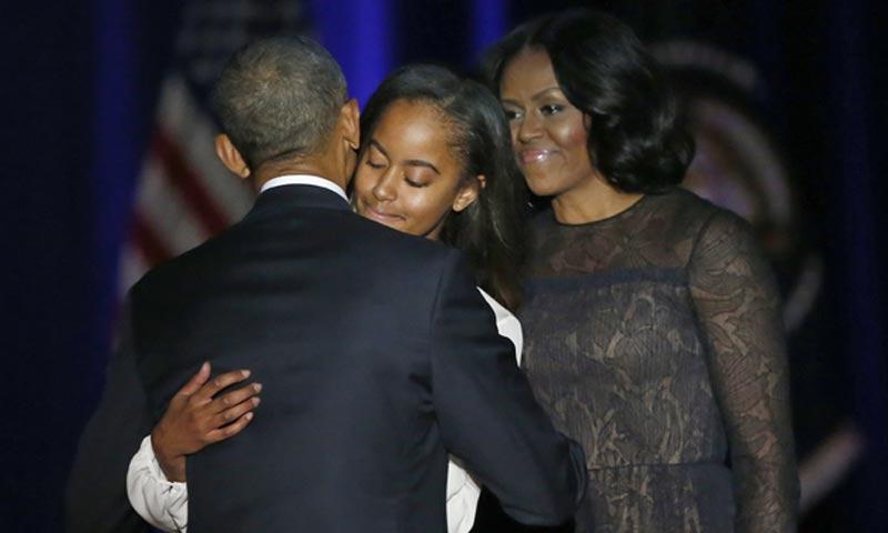 En el discurso de despedida de Barack Obama, ¿dónde estaba su hija Sasha?