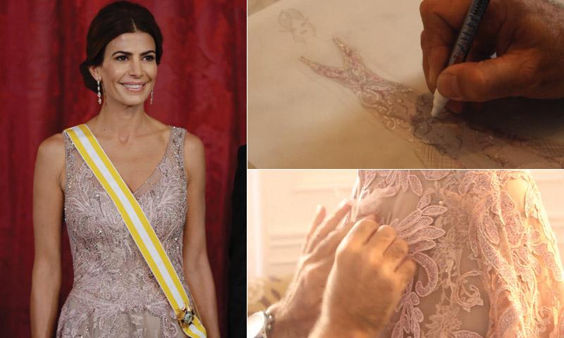 En vídeo: así se creó el vestido de gala de Juliana Awada… ¡con guiño español!